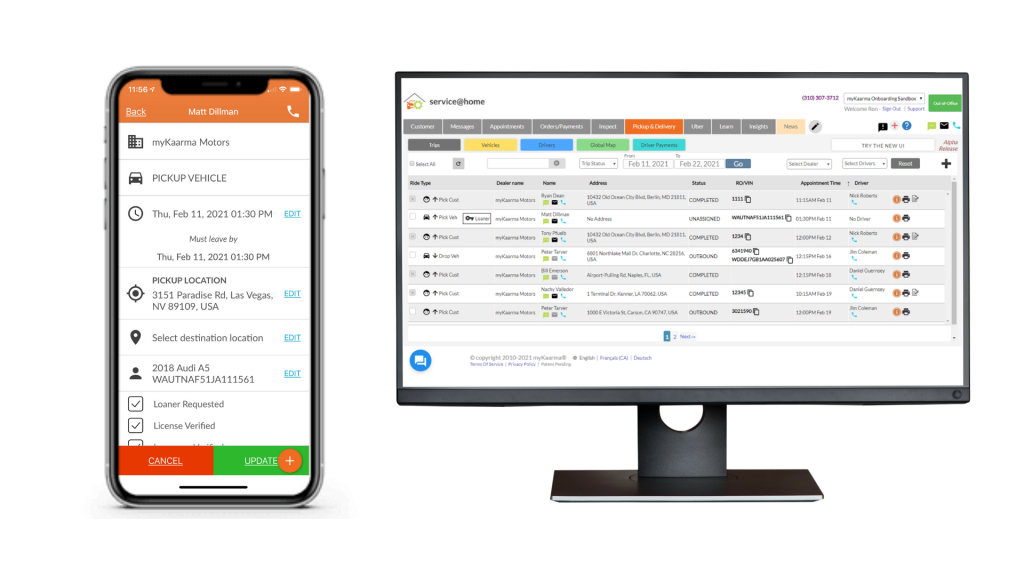 Desktop and mobile view of pickup and delivery