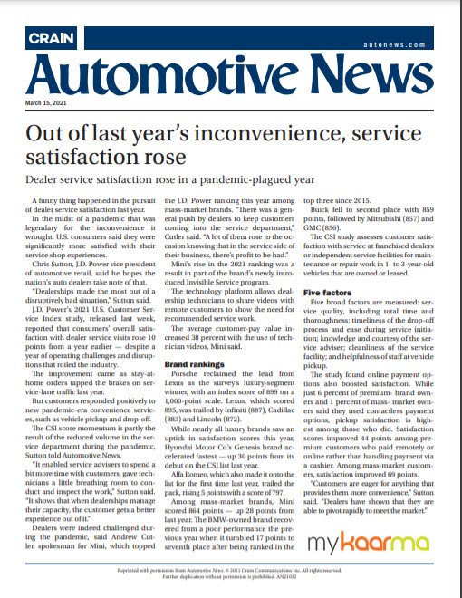 Out of last year's inconvenience, service satisfaction rose