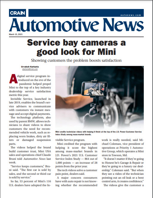 service bay cameras a good look for mini