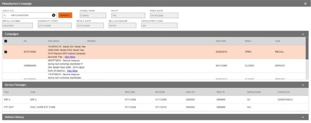 RecallMasters recall by VIN data in myKaarma scheduler